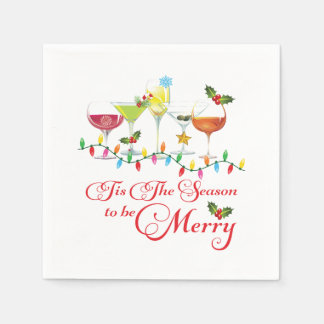 Cocktail Holiday Christmas Party Paper Napkins