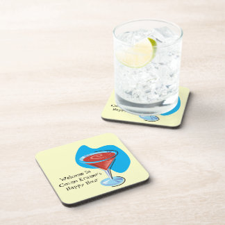 Cocktail Hour_retro-style Cosmo glass personalized Drink Coaster