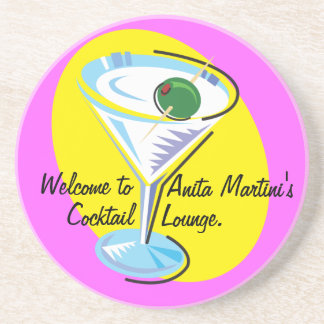 Cocktail Hour_retro-style Martini glass Drink Coaster