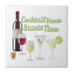 """Cocktail Hour Tile<br><div class=""""desc"""">Time to celebrate with this perfect design to please the vino connoisseur! This cool design will look good on cocktail napkins,  kitchen decor and more!</div>"""