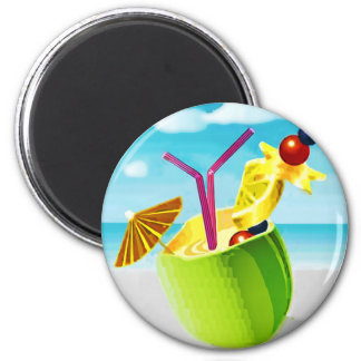 Cocktail in a Coconut 2 Inch Round Magnet