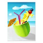 Cocktail in a Coconut 5x7 Paper Invitation Card