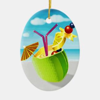 Cocktail in a Coconut Ceramic Ornament