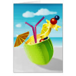 Cocktail in a Coconut Greeting Card