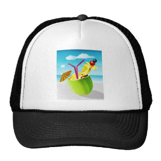 Cocktail in a Coconut Trucker Hat