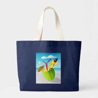 Cocktail in a Coconut Large Tote Bag