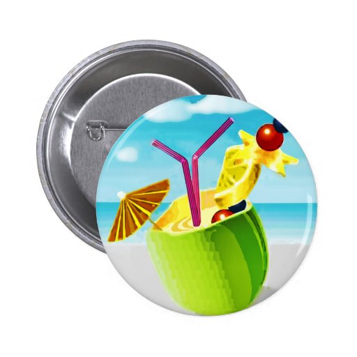 Cocktail in a Coconut Pinback Buttons