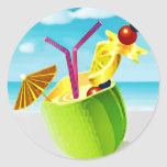 Cocktail in a Coconut Round Stickers