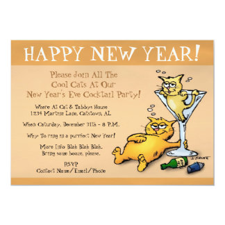 Cocktail Kittens Gold New Year Party Invitation
