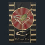"Cocktail Lounge Kitchen Towel<br><div class=""desc"">Glamorous and fun vintage cocktail lounge colors in smart black, red and gold create a stunning gift design; the cute martini glass even comes complete with an olive! A very unique and stylish gift idea that would be great for those that love cocktail parties or work in a bar. Purchase...</div>"