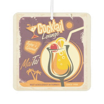 Beach Themed Cocktail Lounge Poster Air Freshener