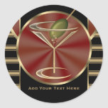 Cocktail Lounge Round Stickers