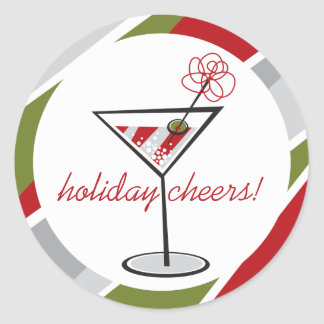 Cocktail Martini Christmas Holiday Party Stickers