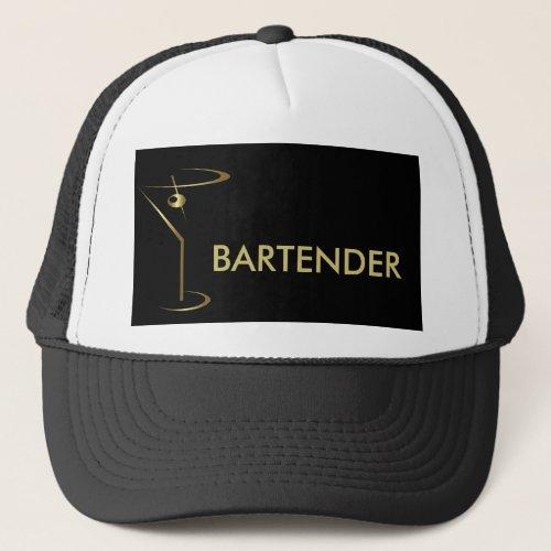 Cocktail Martini Gold Bartender Trucker Hat