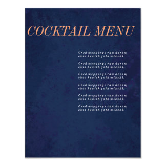 Cocktail Menu, Drink Menu, Navy Blue Wedding Set Card