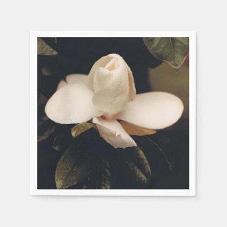 Cocktail Napkins with a Magnolia Blossom Design