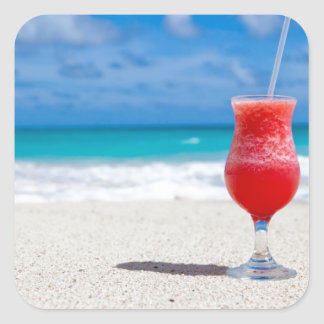 Cocktail on the Sand Square Sticker