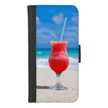 Beach Themed Cocktail on Tropical Beach iPhone 8/7 Wallet Case