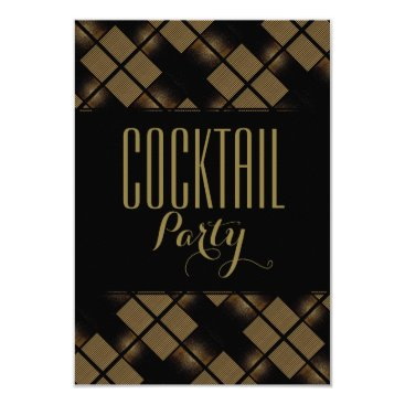 Professional Business Cocktail Party Black & Gold Patterns Card