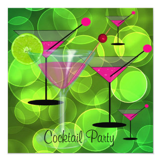 Cocktail Party Bubbles Green Pink Invitation