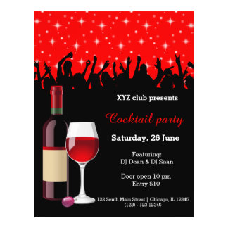 """Cocktail party * choose background color 8.5"""" x 11"""" flyer"""