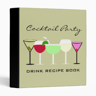 Cocktail Party Drink Recipe Book Binder