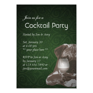Cocktail Party Green Damask Pug & Fine Wine Invitation