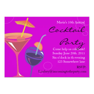 Cocktail Party Happy Birthday Invitation Drinks