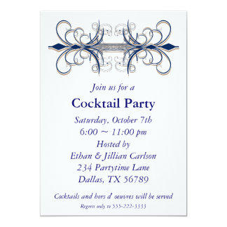 Cocktail Party Invitation Blue Invitations