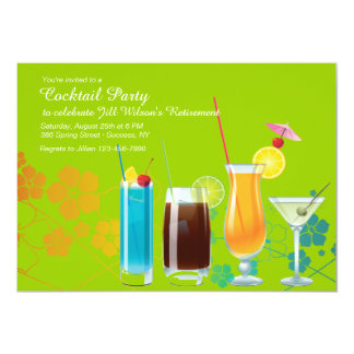 Cocktail Party Invites, YOU PICK BACKGROUND COLOR