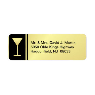 Cocktail Party Labels - Gold & Black - Small