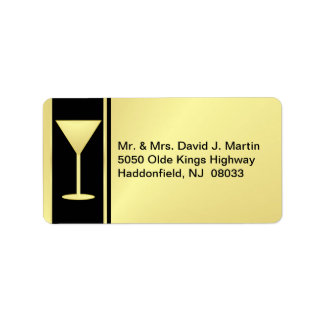Cocktail Party Mailing Labels - Gold Black