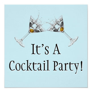 Cocktail Party Mod Linen Invitations (Square)