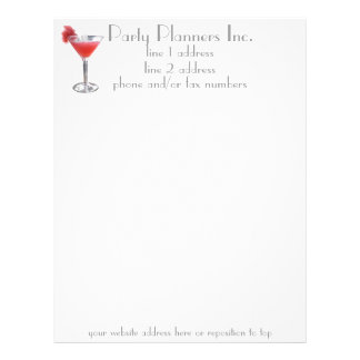 Cocktail Party Planner Letterhead