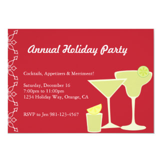 Cocktail Party Red 5x7 Paper Invitation Card