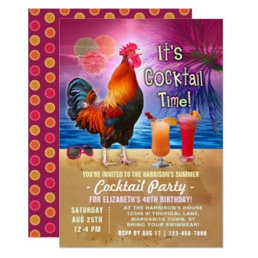 Beach Themed Cocktail Party Tropical Rooster Funny Birthday Card