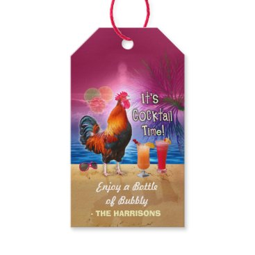 Beach Themed Cocktail Party Tropical Rooster Funny Birthday Gift Tags