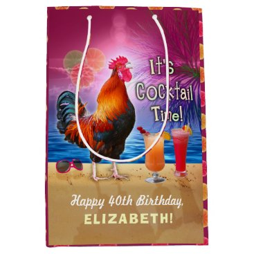 Beach Themed Cocktail Party Tropical Rooster Funny Birthday Medium Gift Bag