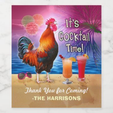 Cocktail Party Tropical Rooster Funny Birthday Wine Label