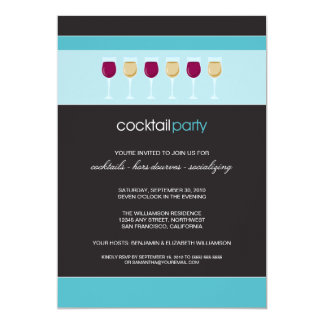 Cocktail Party Wine Glass Invitation (aqua)