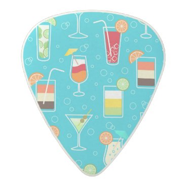 Beach Themed Cocktail Pattern on Teal Background Acetal Guitar Pick