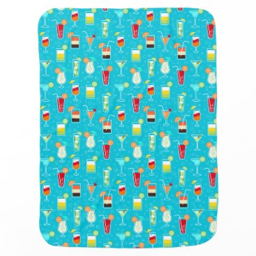 Beach Themed Cocktail Pattern on Teal Background Baby Blanket