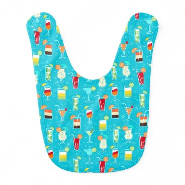 Beach Themed Cocktail Pattern on Teal Background Bib