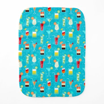 Beach Themed Cocktail Pattern on Teal Background Burp Cloth