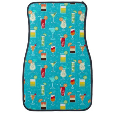 Beach Themed Cocktail Pattern on Teal Background Car Floor Mat
