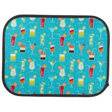 Beach Themed Cocktail Pattern on Teal Background Car Mat