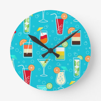 Cocktail Pattern on Teal Background Round Clocks