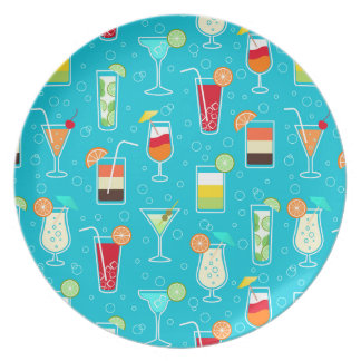 Cocktail Pattern on Teal Background Dinner Plate