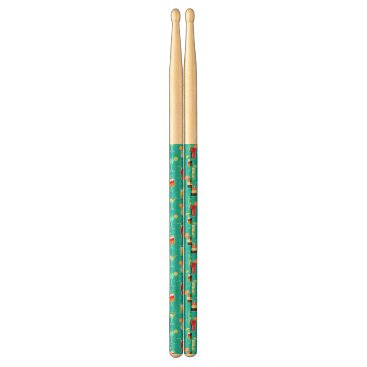 Beach Themed Cocktail Pattern on Teal Background Drum Sticks