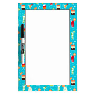 Cocktail Pattern on Teal Background Dry Erase Boards